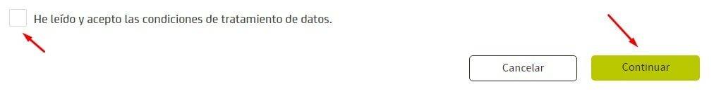 Confirmar los datos en Bankia