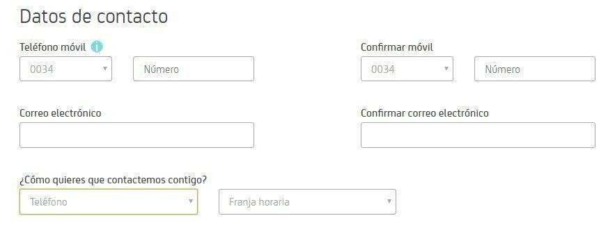 datos para Bankia sin comisiones