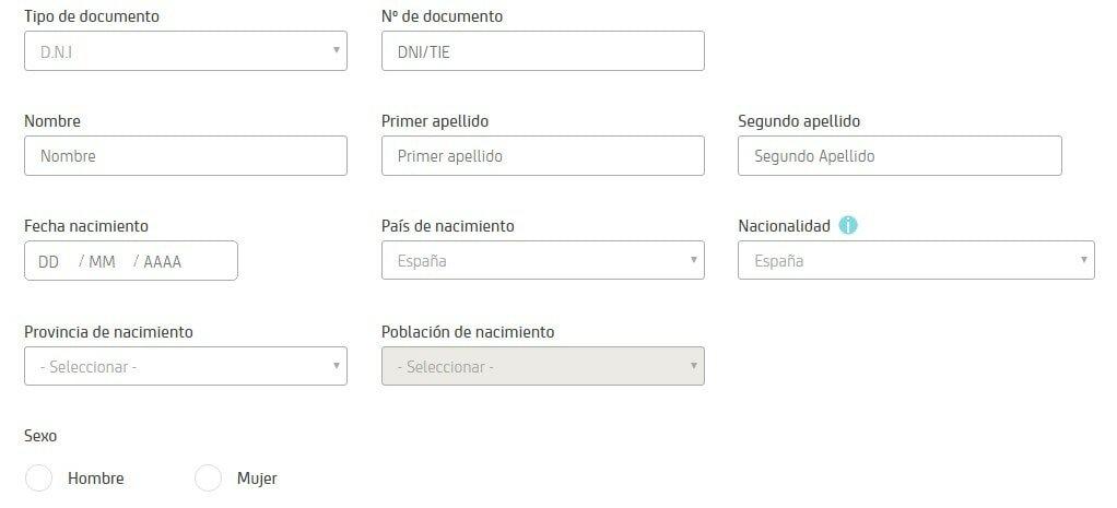 registra tus datos en Bankia