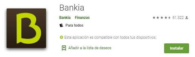 Bankia sin comisiones en Android