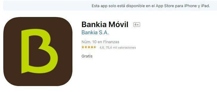 Bankia sin comisiones en iOS