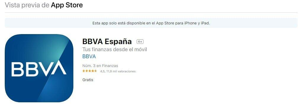 Aplicación móvil de la cuenta online de BBVA