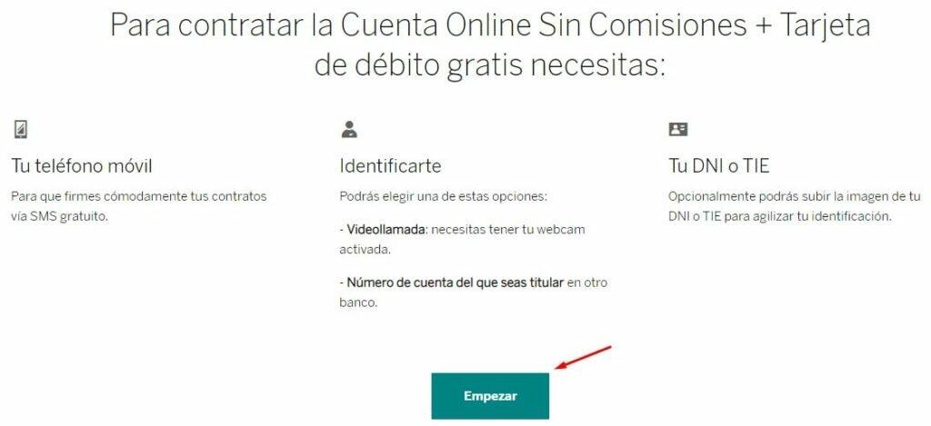 contratar cuenta online de BBVA sin comisiones