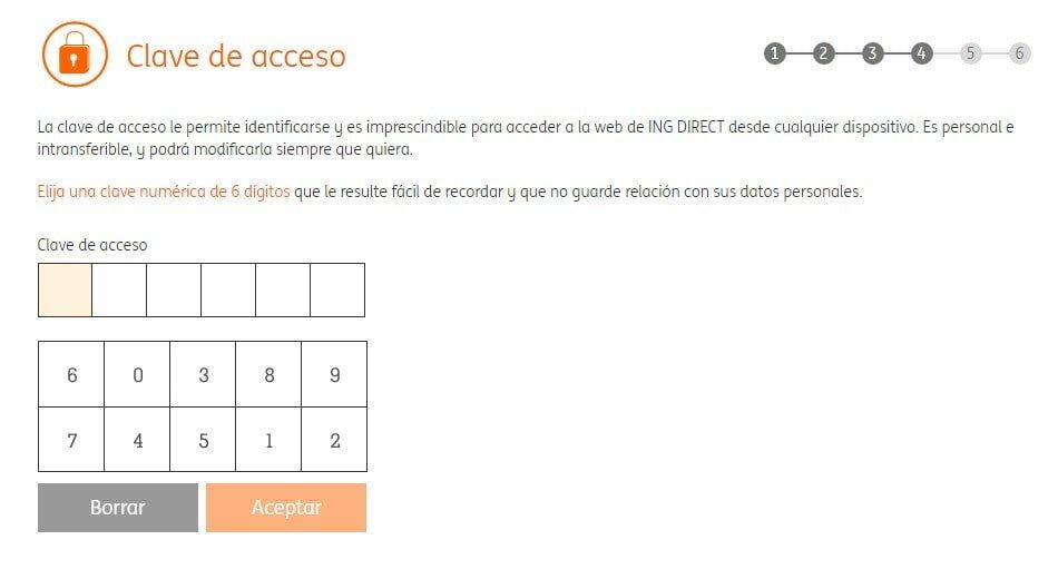 identificar clave para el acceso al banco ING