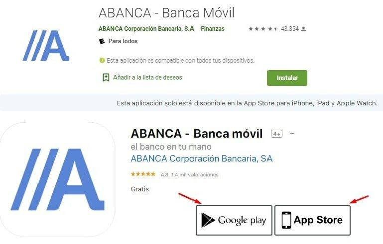 Abanca cuentas sin comisiones en aplicación móvil