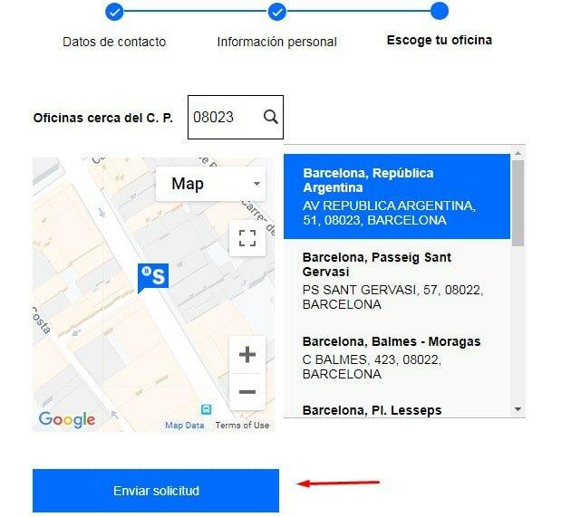 enviar solicitud a Sabadell cuentas sin comisiones