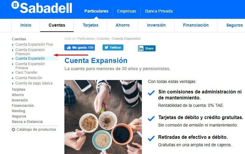 Cuentas Sabadell sin comisiones