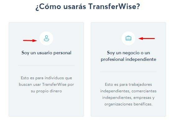 Tipos de usuarios de TransferWise