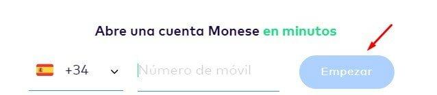Date de alta en Monese online